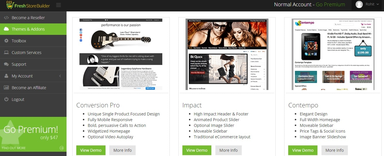 FreshStore themes and templates