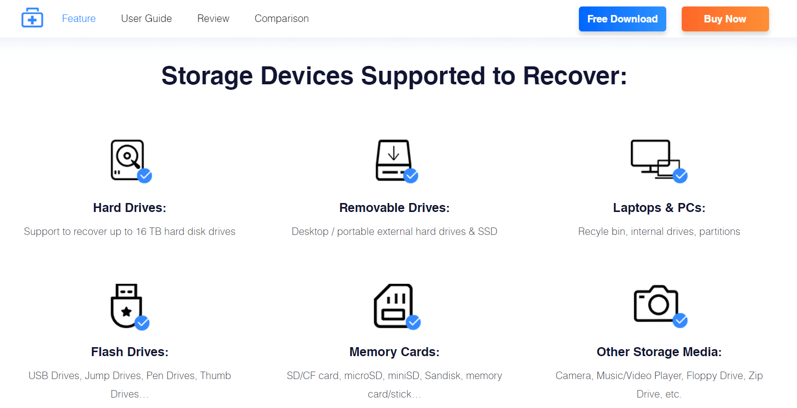 EaseUS Data Recovery Coupon- Storage Devices Supported