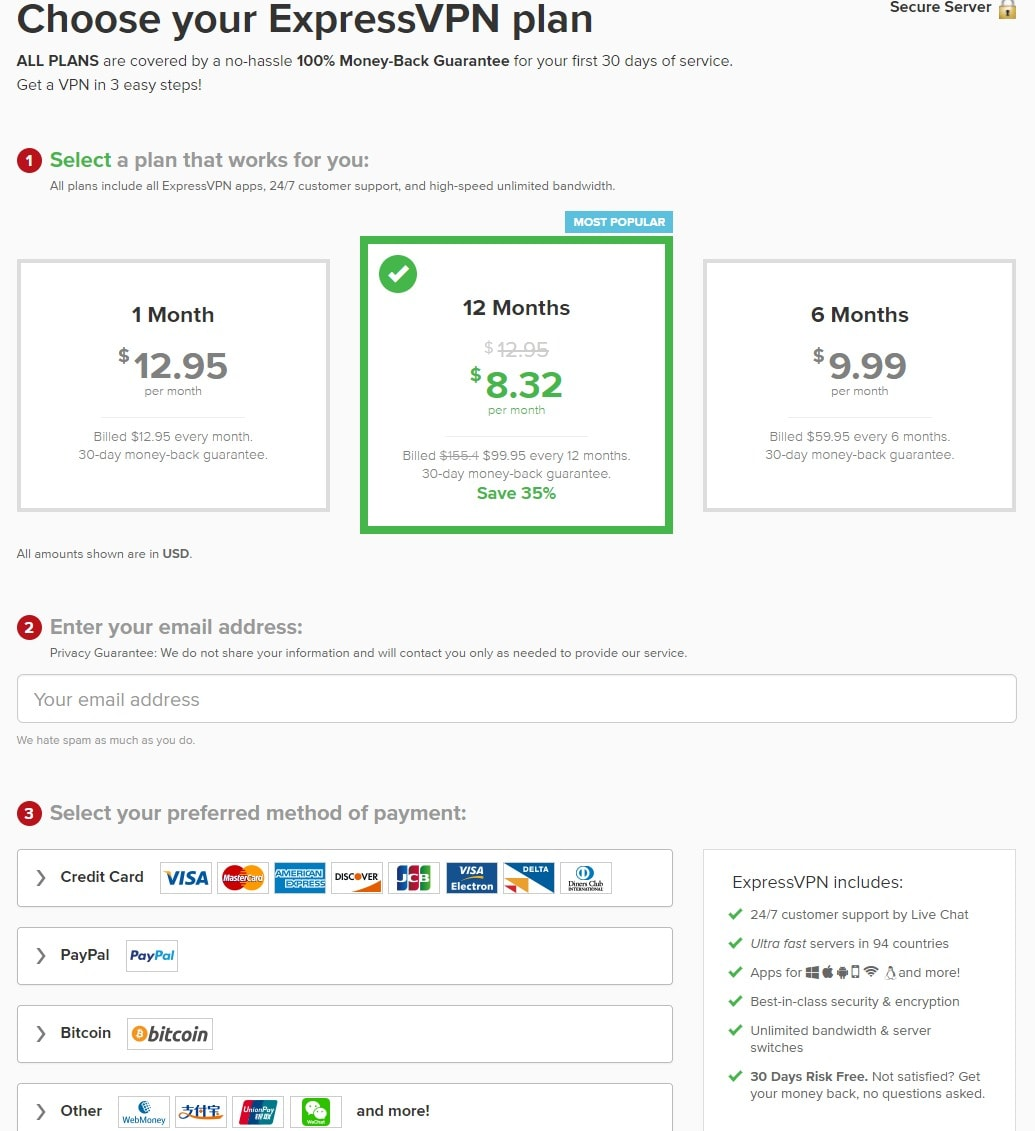 ExpressVPN Plans and Pricing - best VPN china