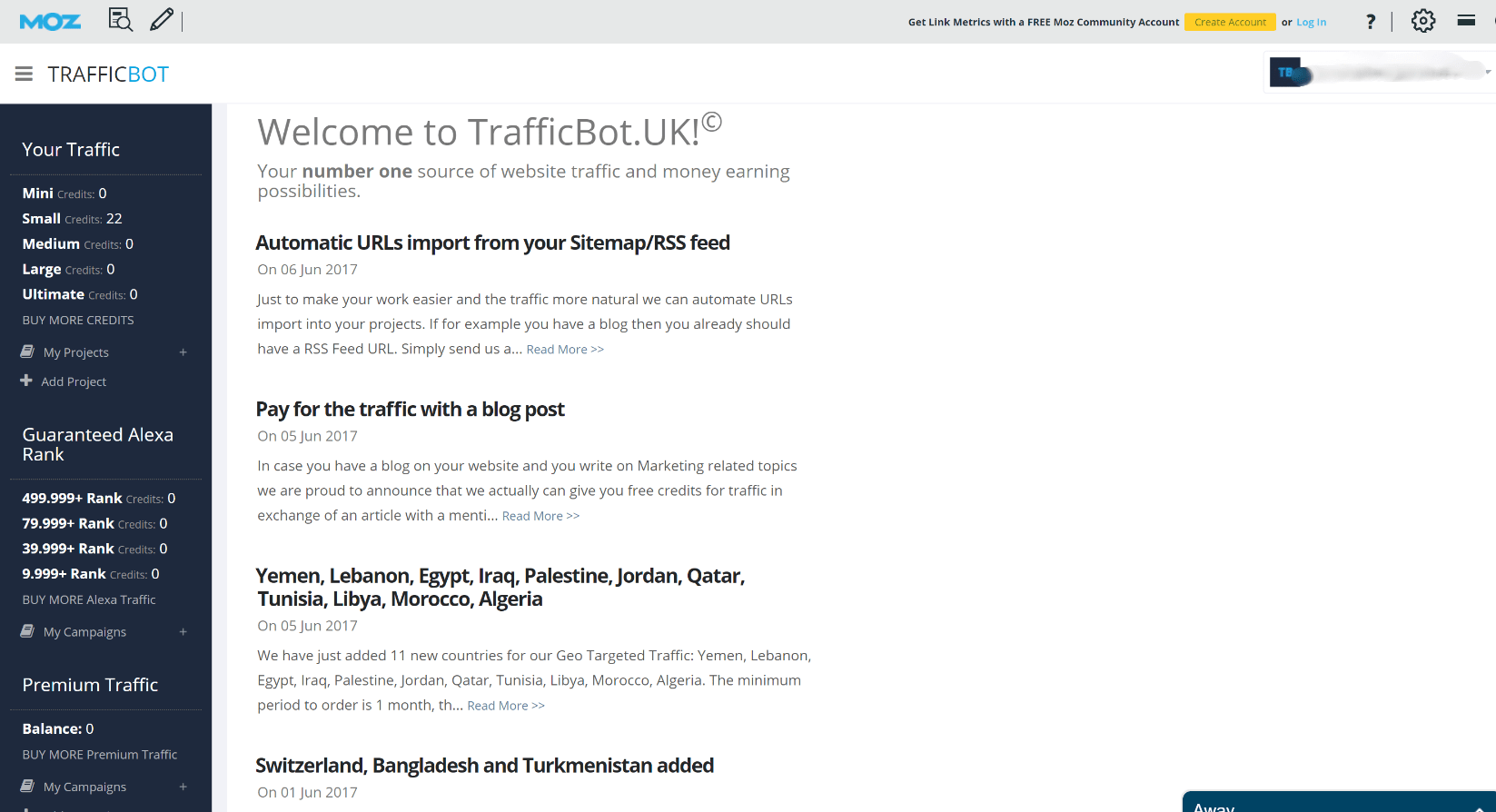 trafficbot dashboard