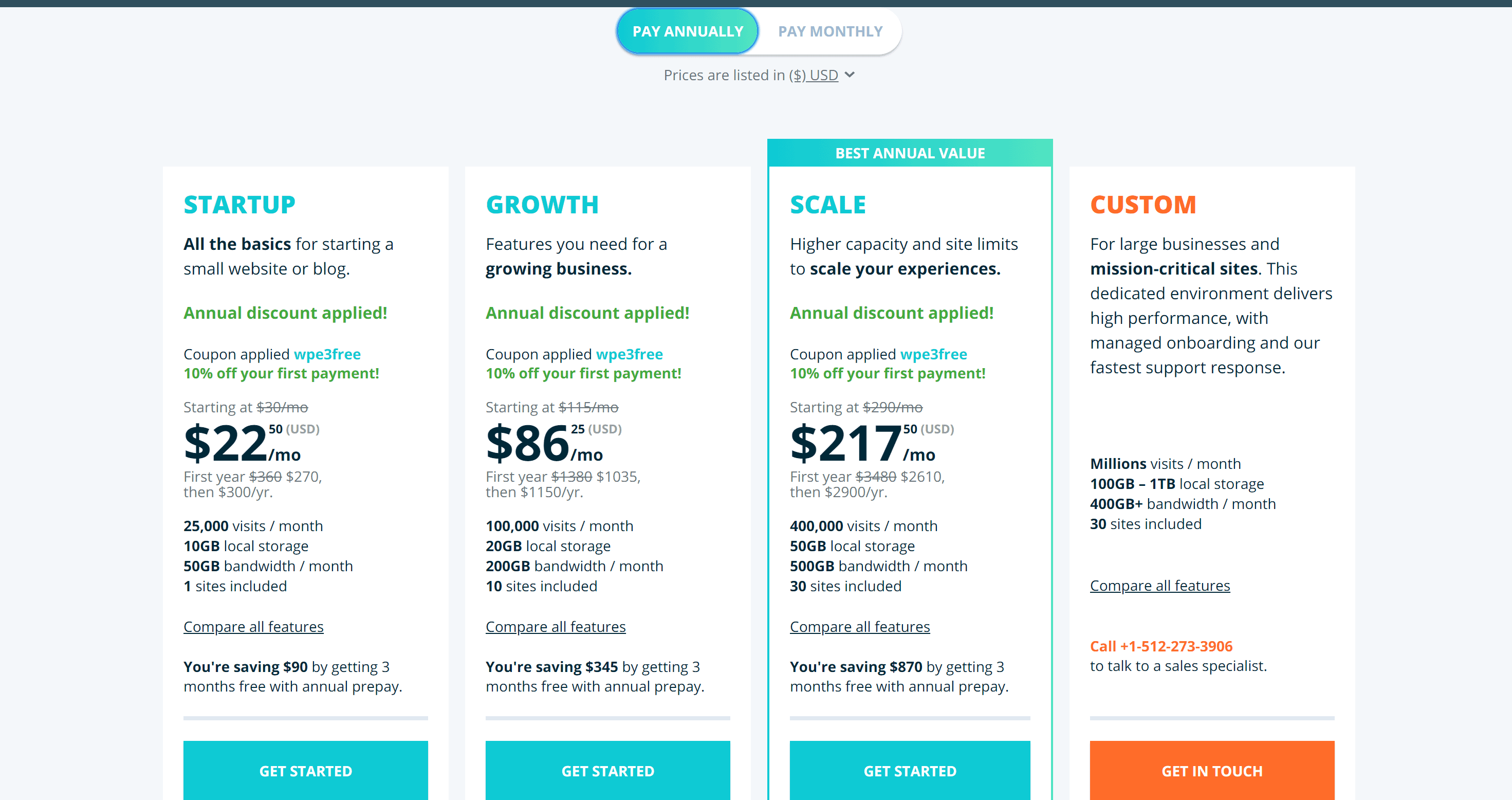 Managed WordPress Hosting yearly plans from WP Engine