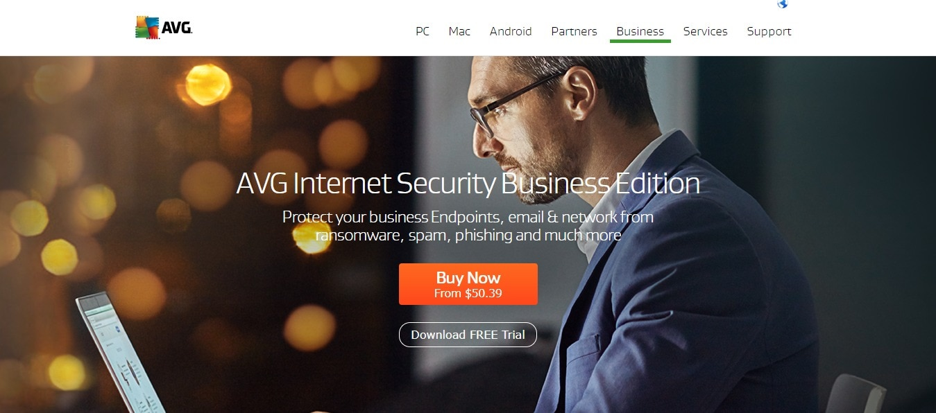 AVG Antivirus Homepage