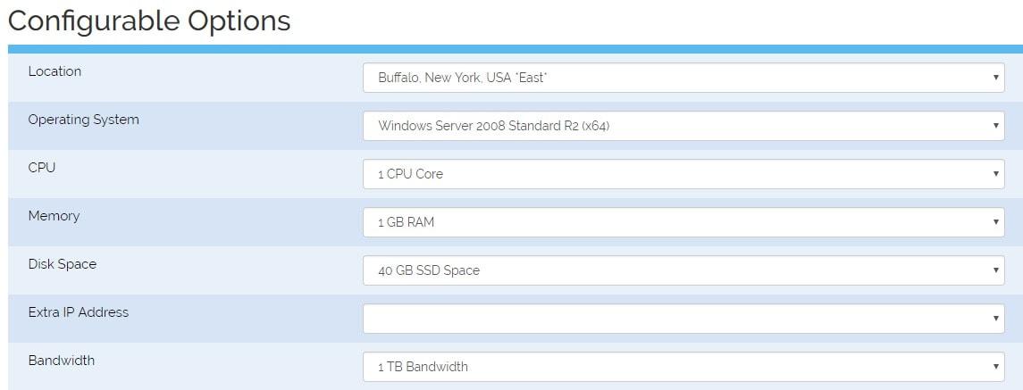 Cheap Windows VPS Configurable Options