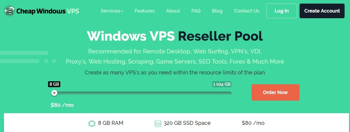 Cheap Windows VPS Configurable Options-Reseller Pool