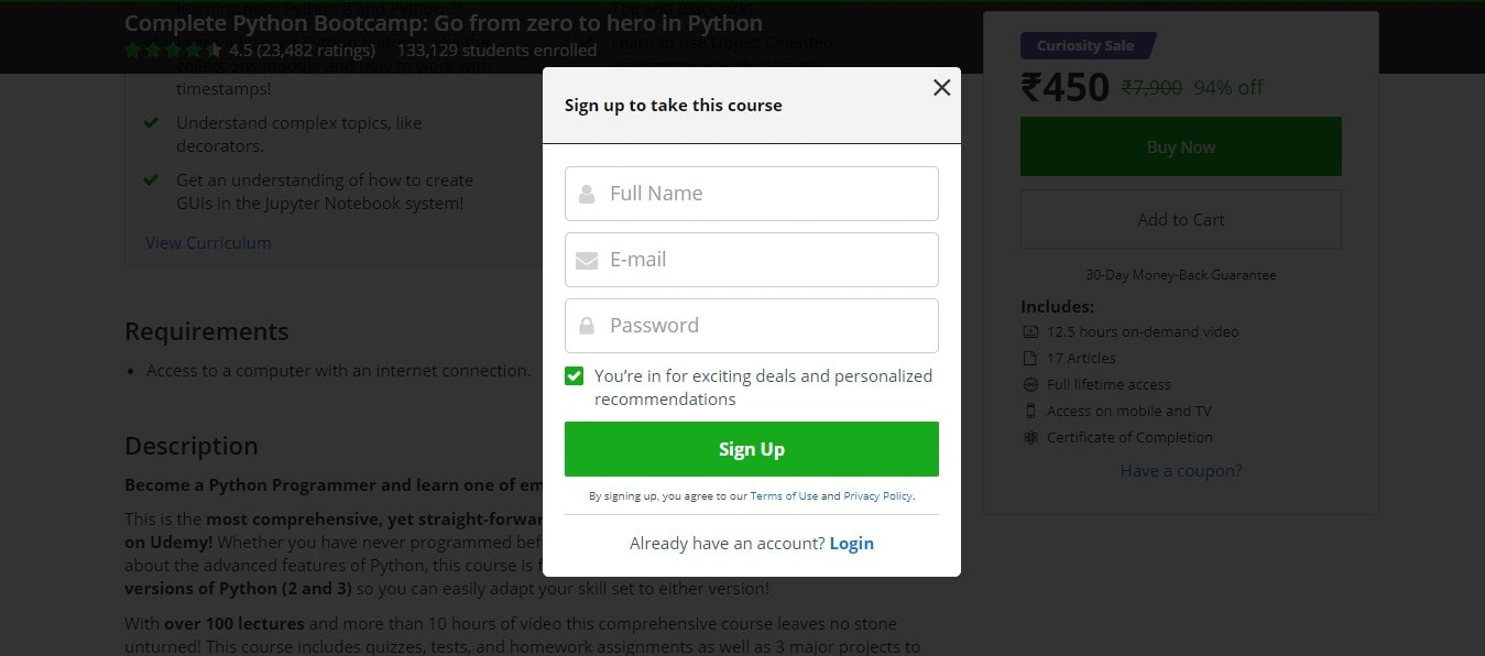 Udemy SignUp
