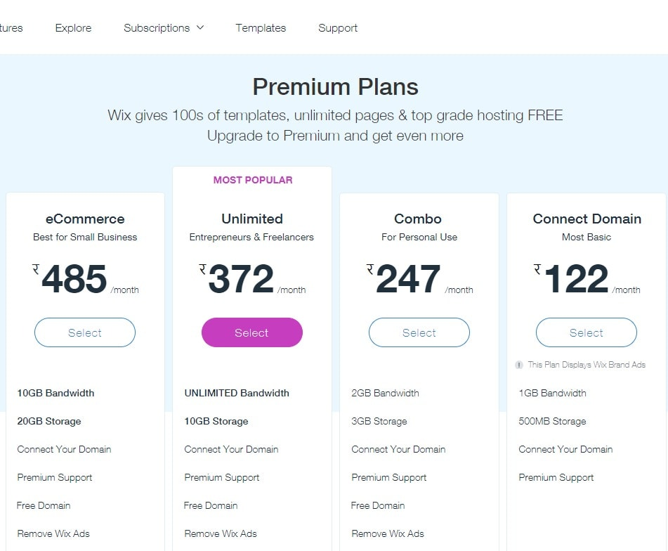 Wix pricing plans- Wix special promo codes