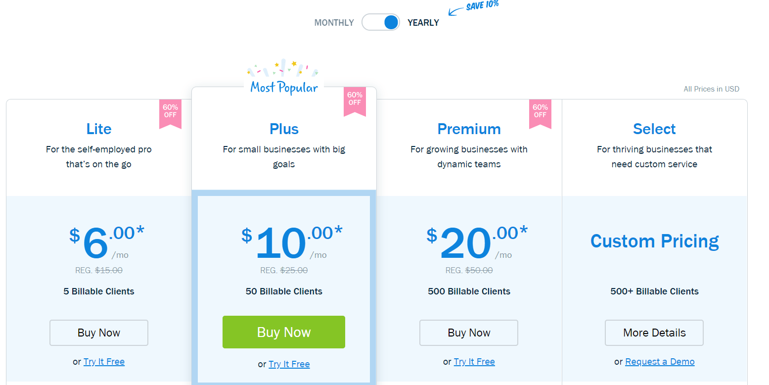 FreshBooks Coupon Codes: pricing pans