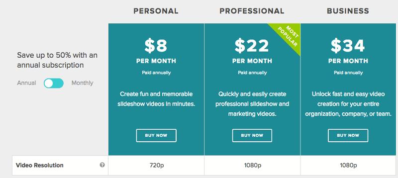 Animoto -Pricing