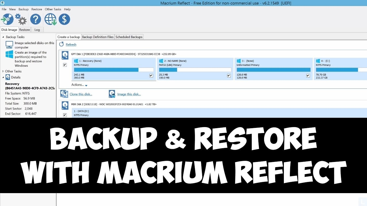 Backup and restore with macrium reflect