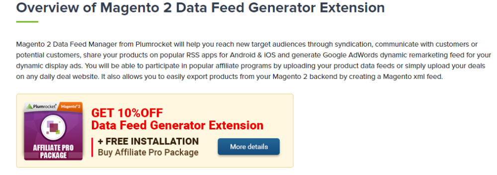 Magento 2 Product Feed Affiliate Data Feed Extension