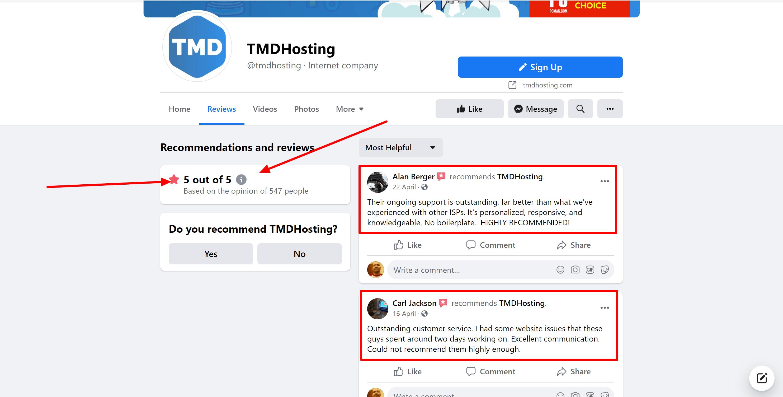 TMD Hosting facebook reviews