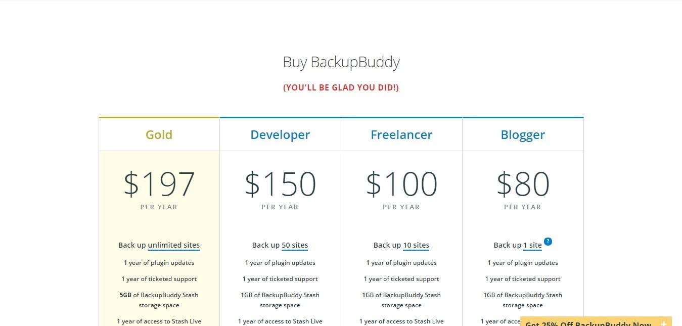 Backupbuddy coupon codes pricing