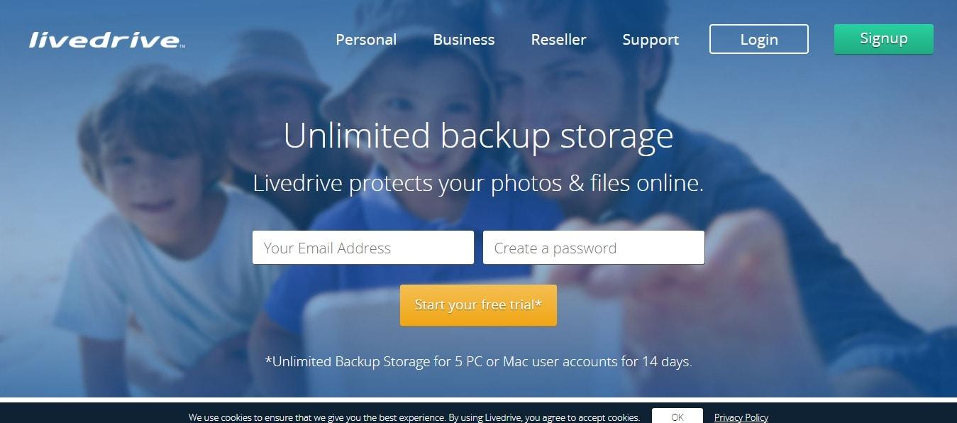 Livedrive Unlimited Backup storage