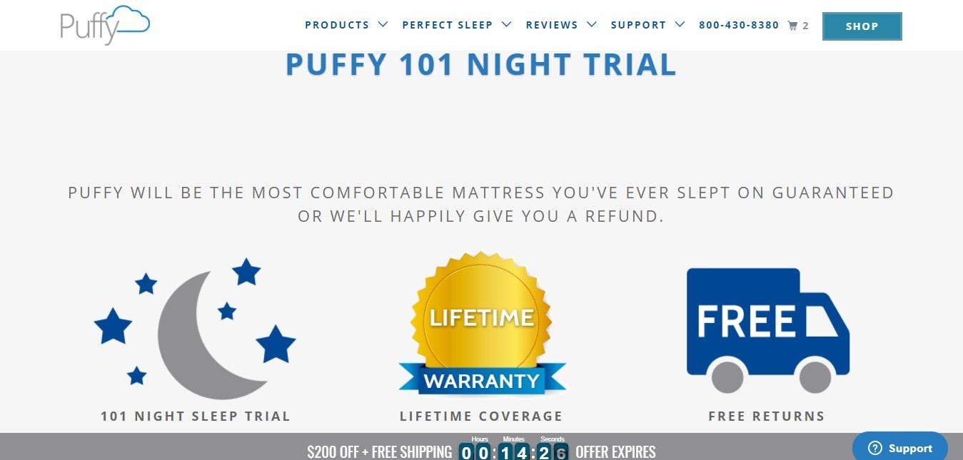 Why Puffy Mattress? - Puffy 101 Night trial