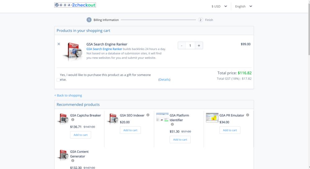 GSA Checkout- GSA Search engine ranker coupons