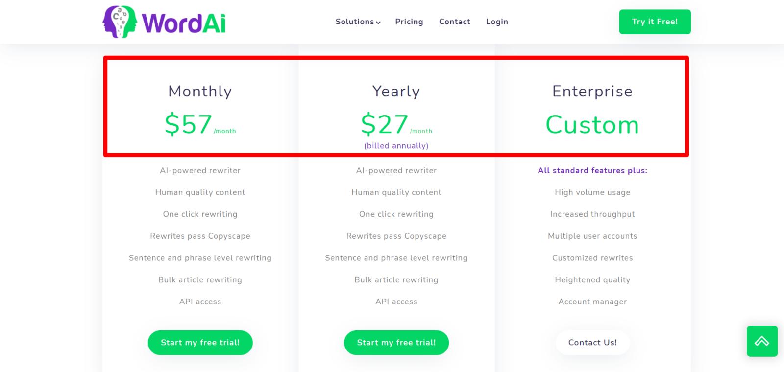 WordAI New pricing plans- WordAI Coupon codes