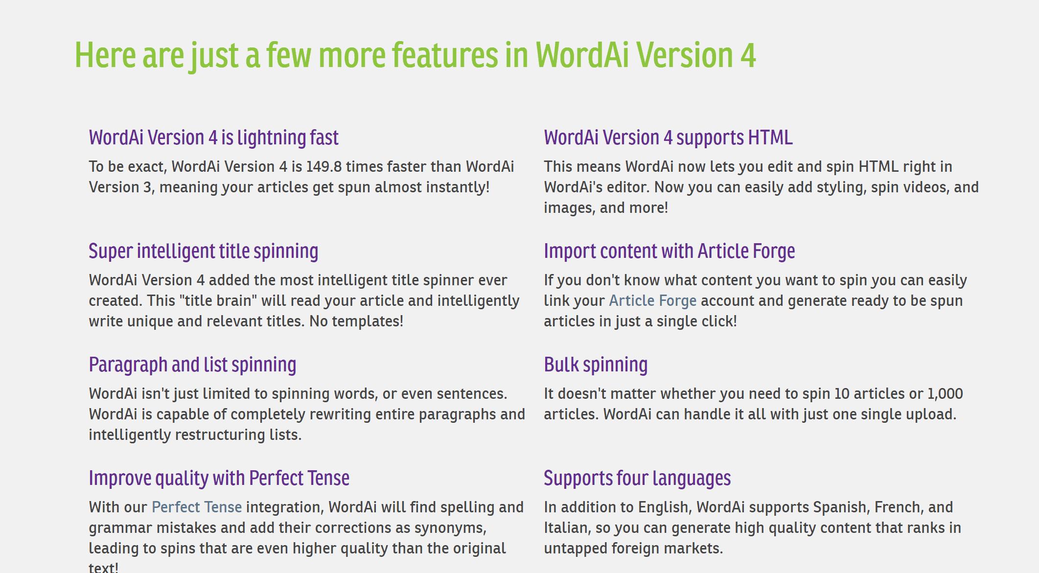 Version 4- Features- WordAi latest promo codes