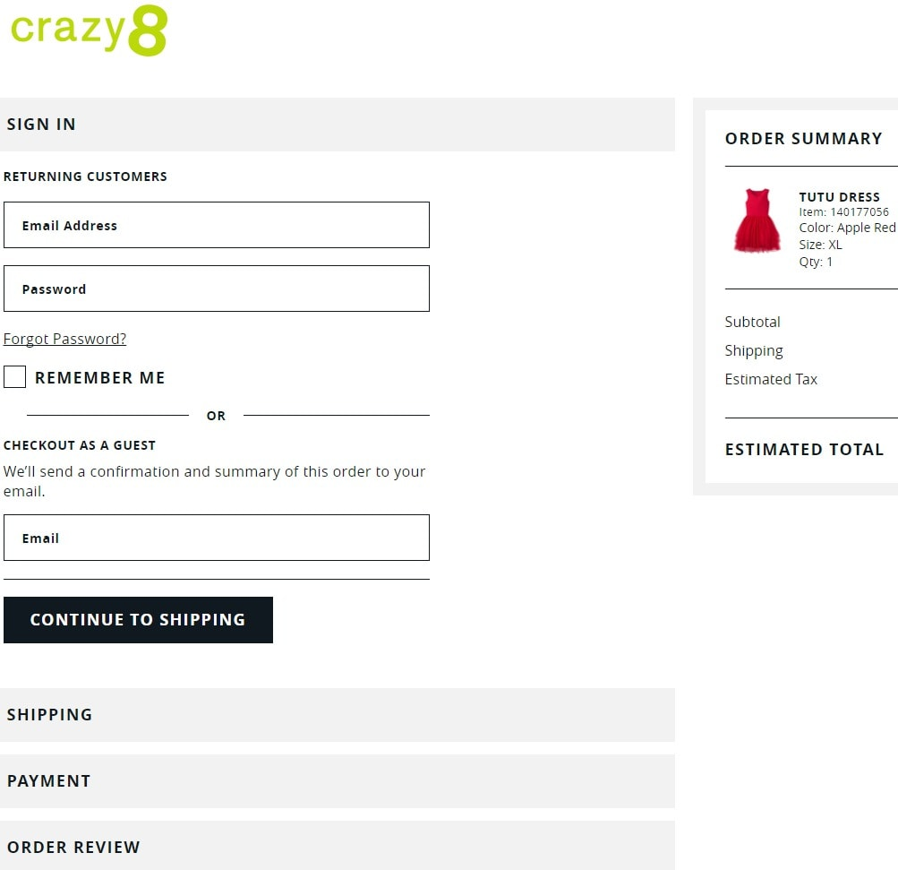 Crazy8 Shipping and Payment- Crazy 8 deals and discounts