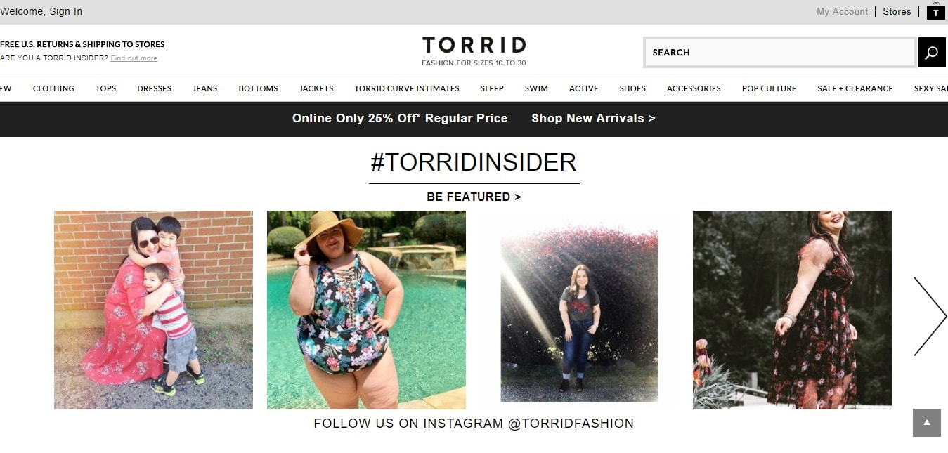 Torrid - a clothing retailer brand