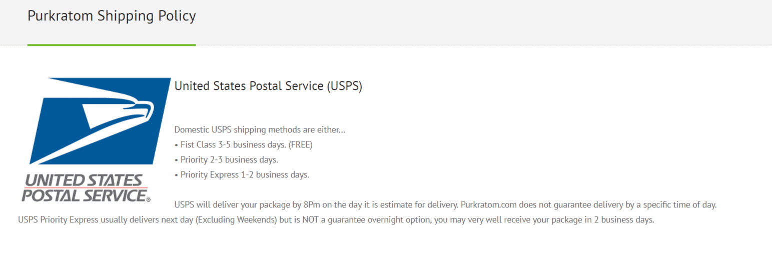 Purkratom shipping policy - postal services