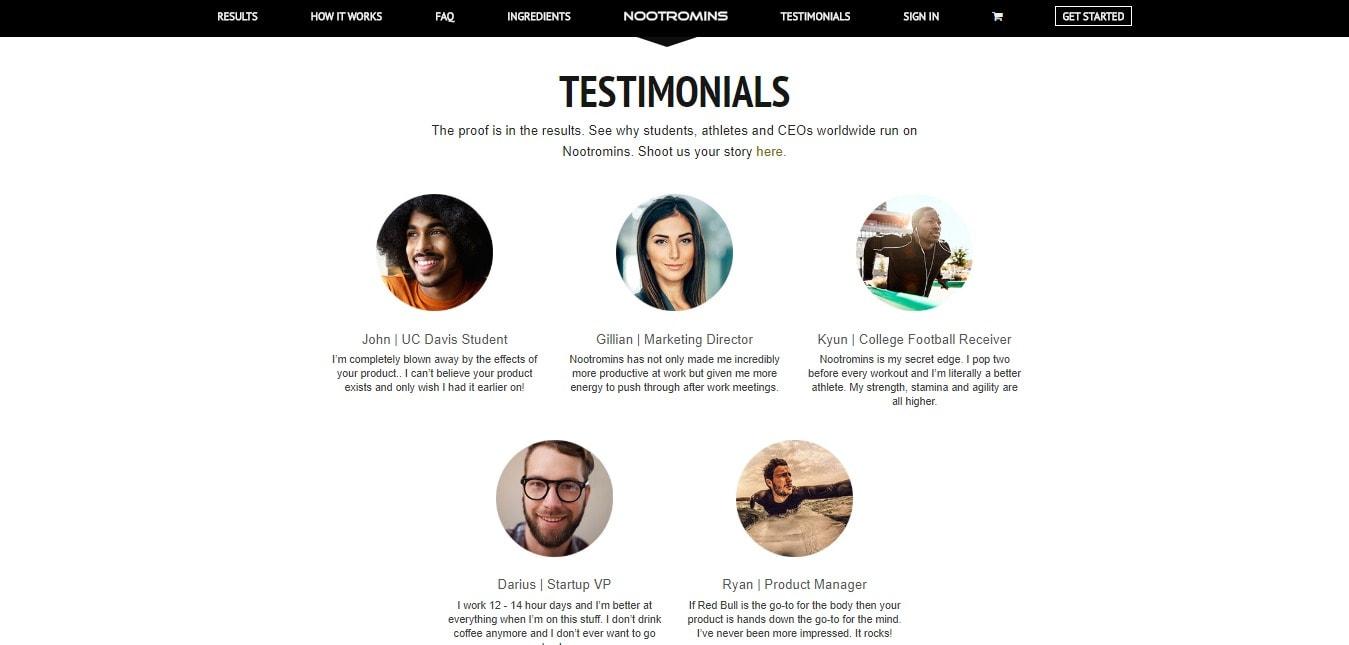 Read Full Testimonials - To understand Nootromins
