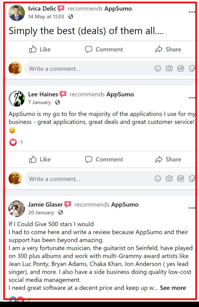 Appsumo facebook customer reviews