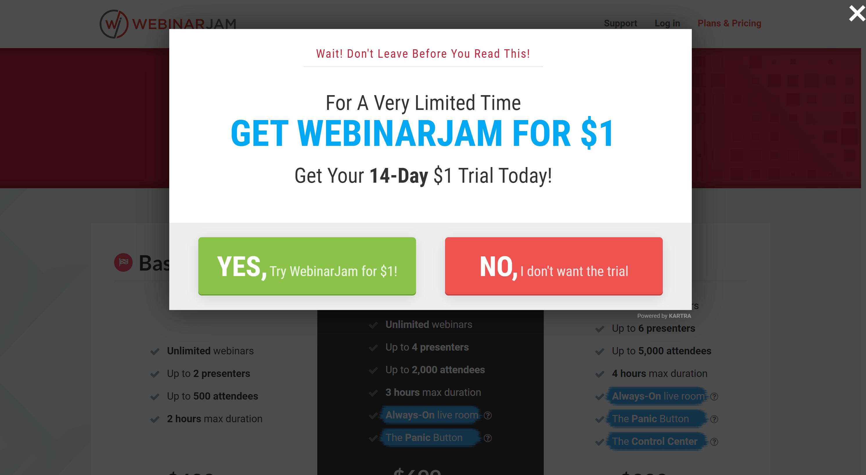 WebinarJam Free Trial discount