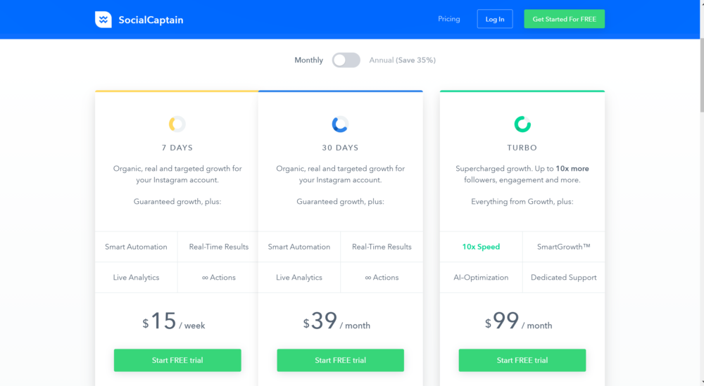 Social Captain Pricing- SocialCaptain Review for instagram growth