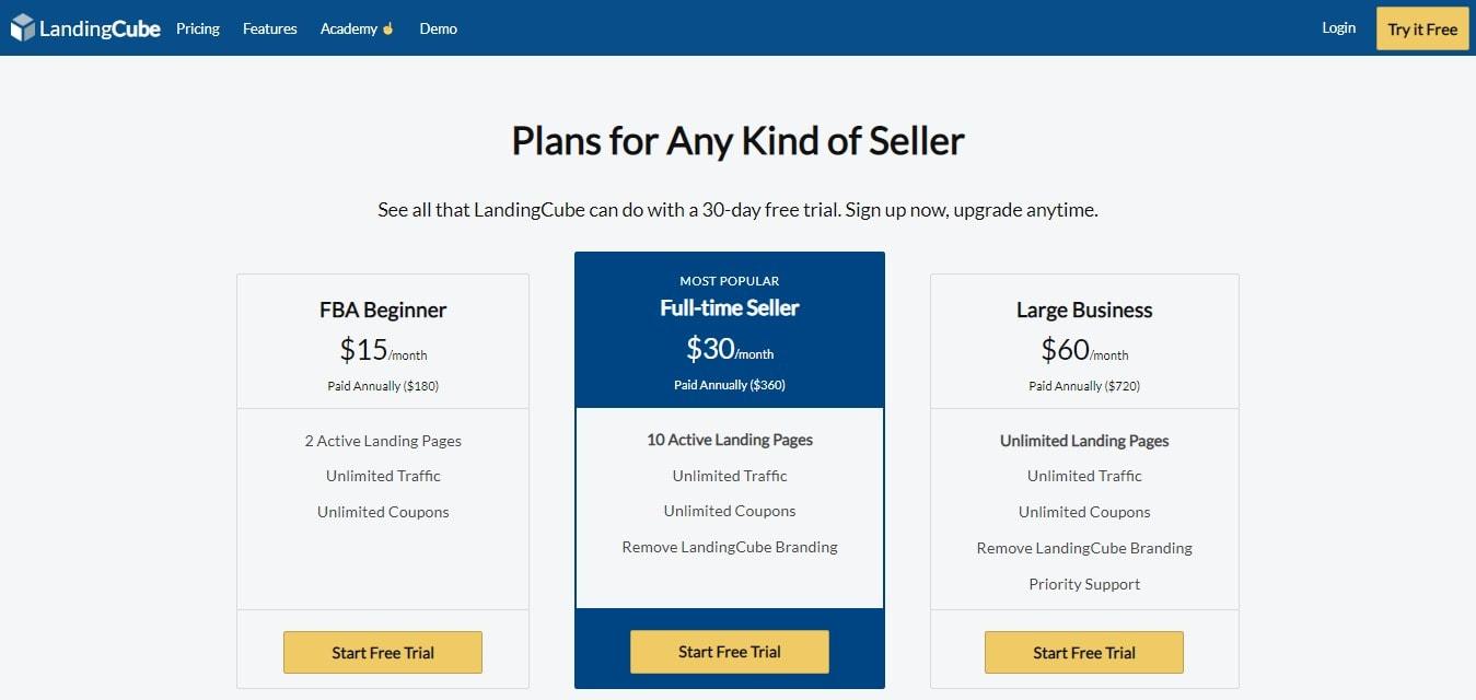 LandingCube - Pricing