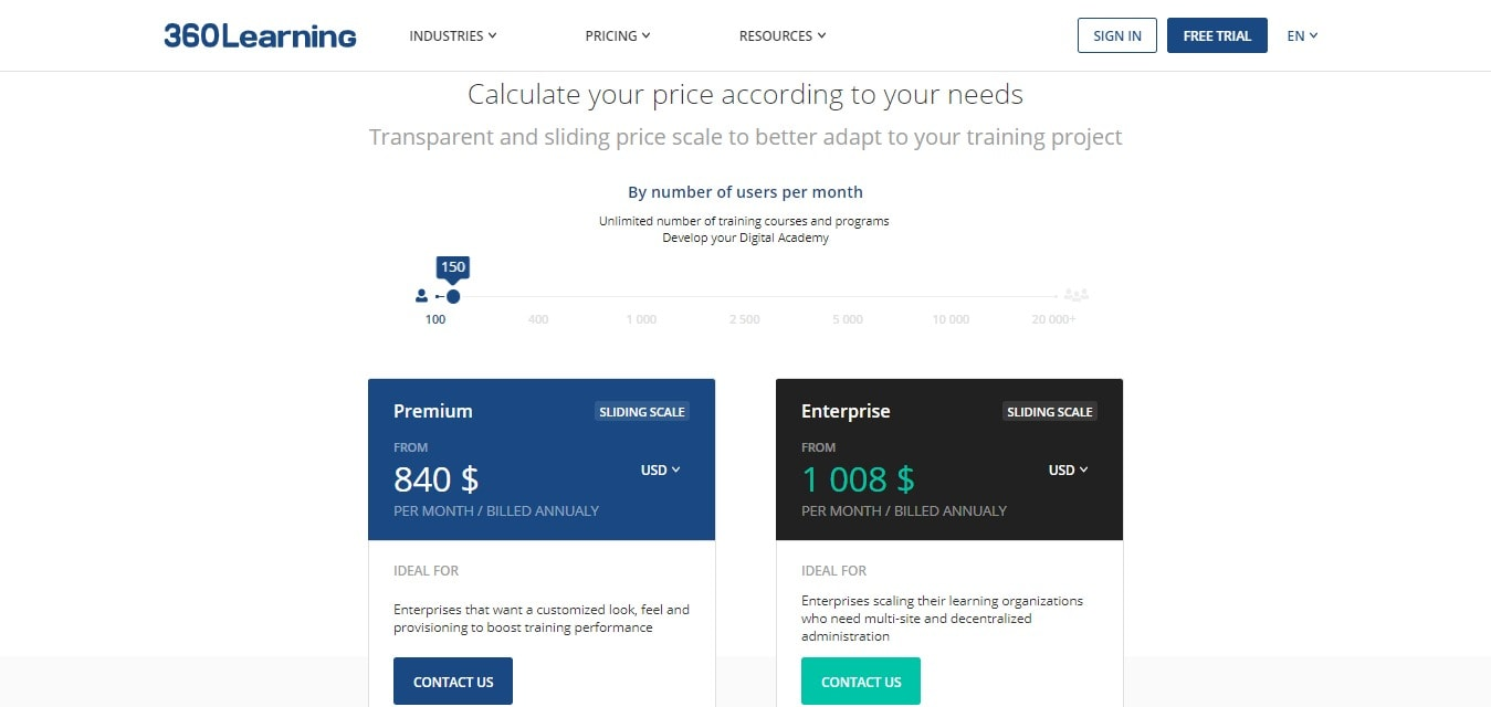 360Learning - calculate your price according to your needs