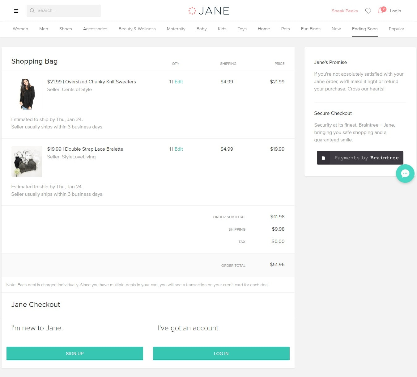 Jane Coupon Codes - Add in shopping bags