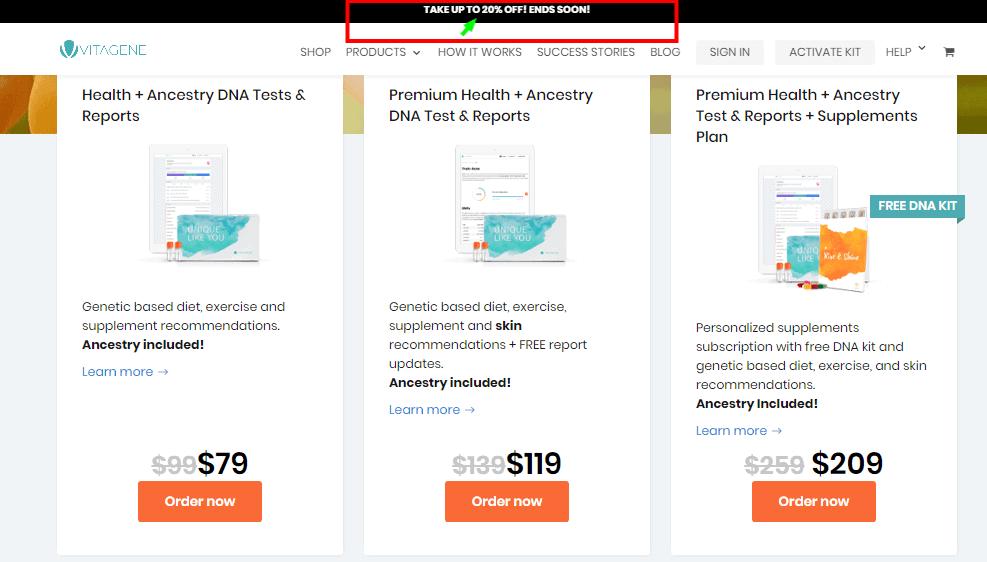 Vitagene Promo Codes -Pricing Plan