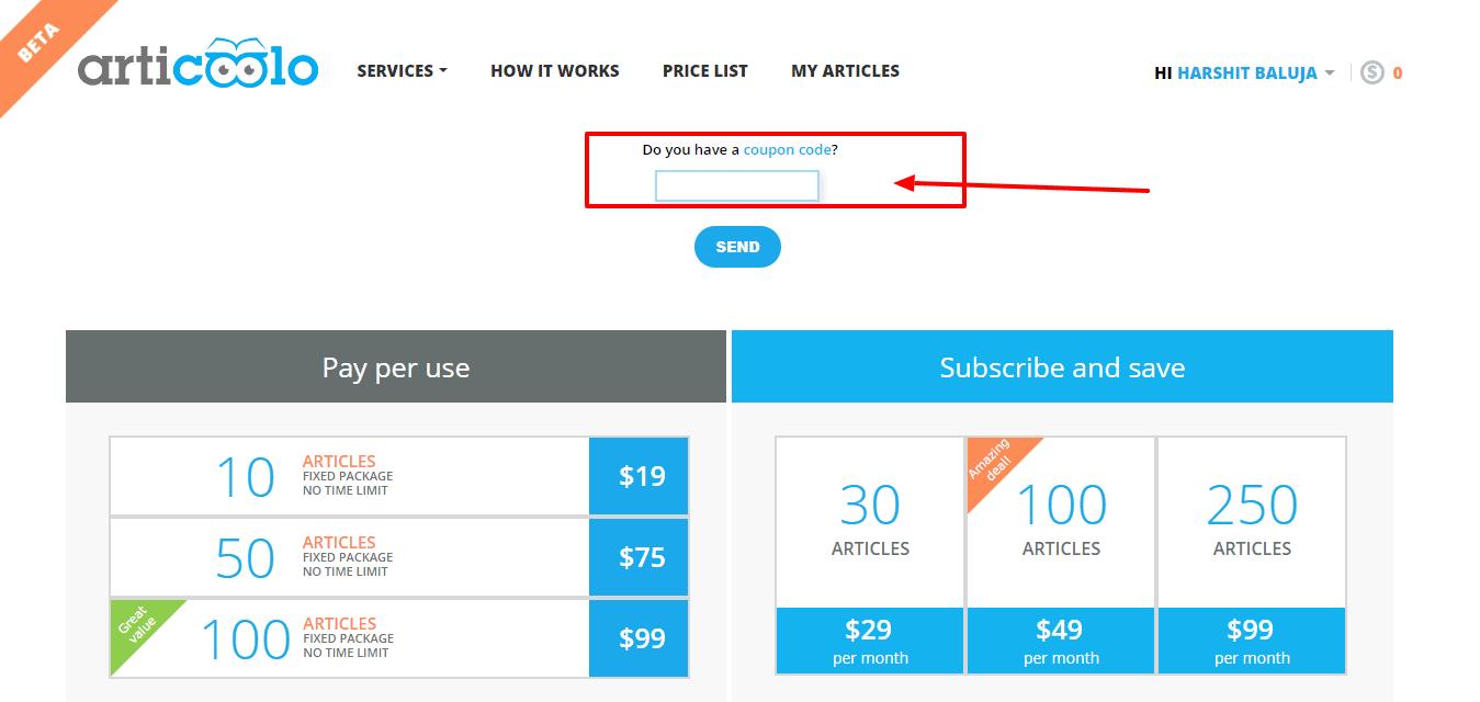 Articoolo checkout discount