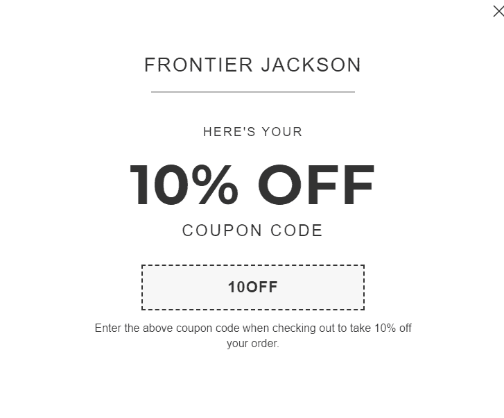 Frontier Jackson Discount Coupon