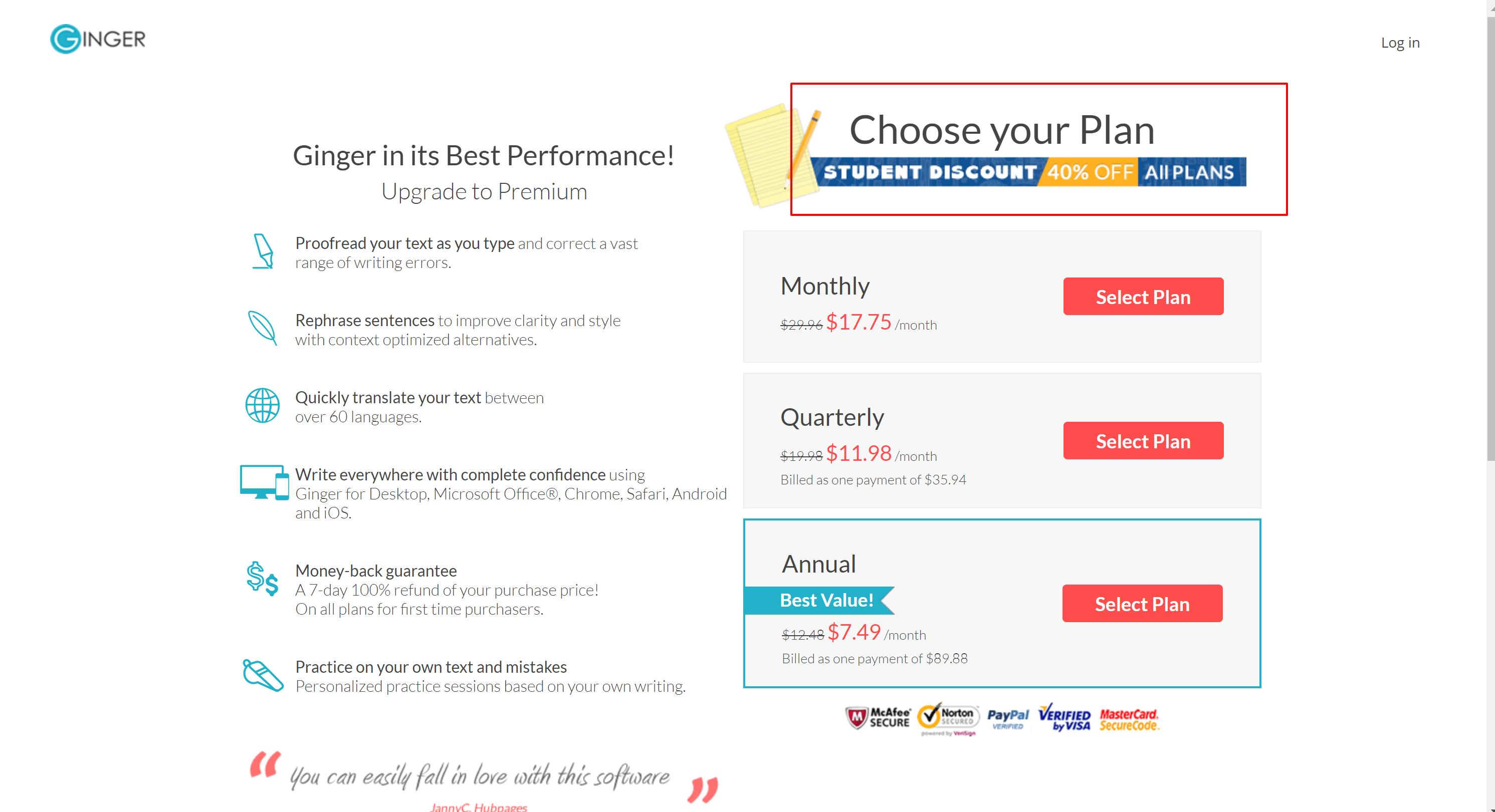 Ginger Premium Plan pricess