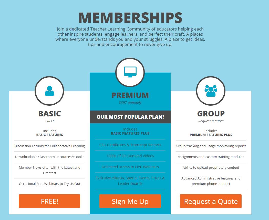 SimpleK12 Memberships - Three Category