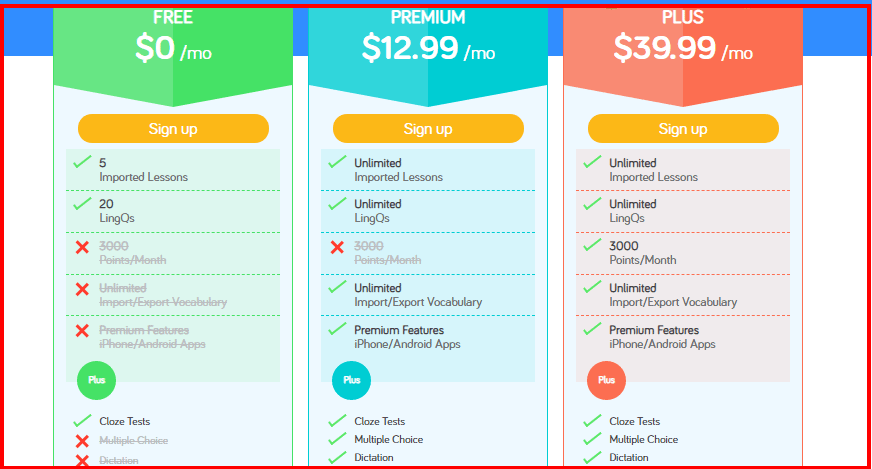 LingQ Coupon Codes- Pricing Plan