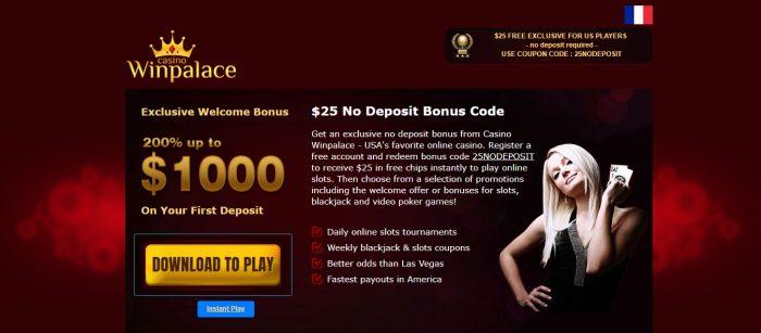 Winpalace Casino bonus