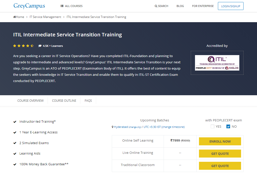 GreyCampus Coupon Codes- ITIL Intermediate Service Transition Training