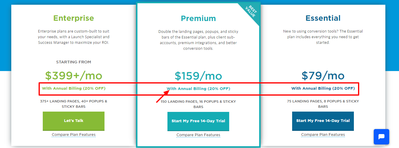 Unbounce Coupon Codes - Pricing Plan