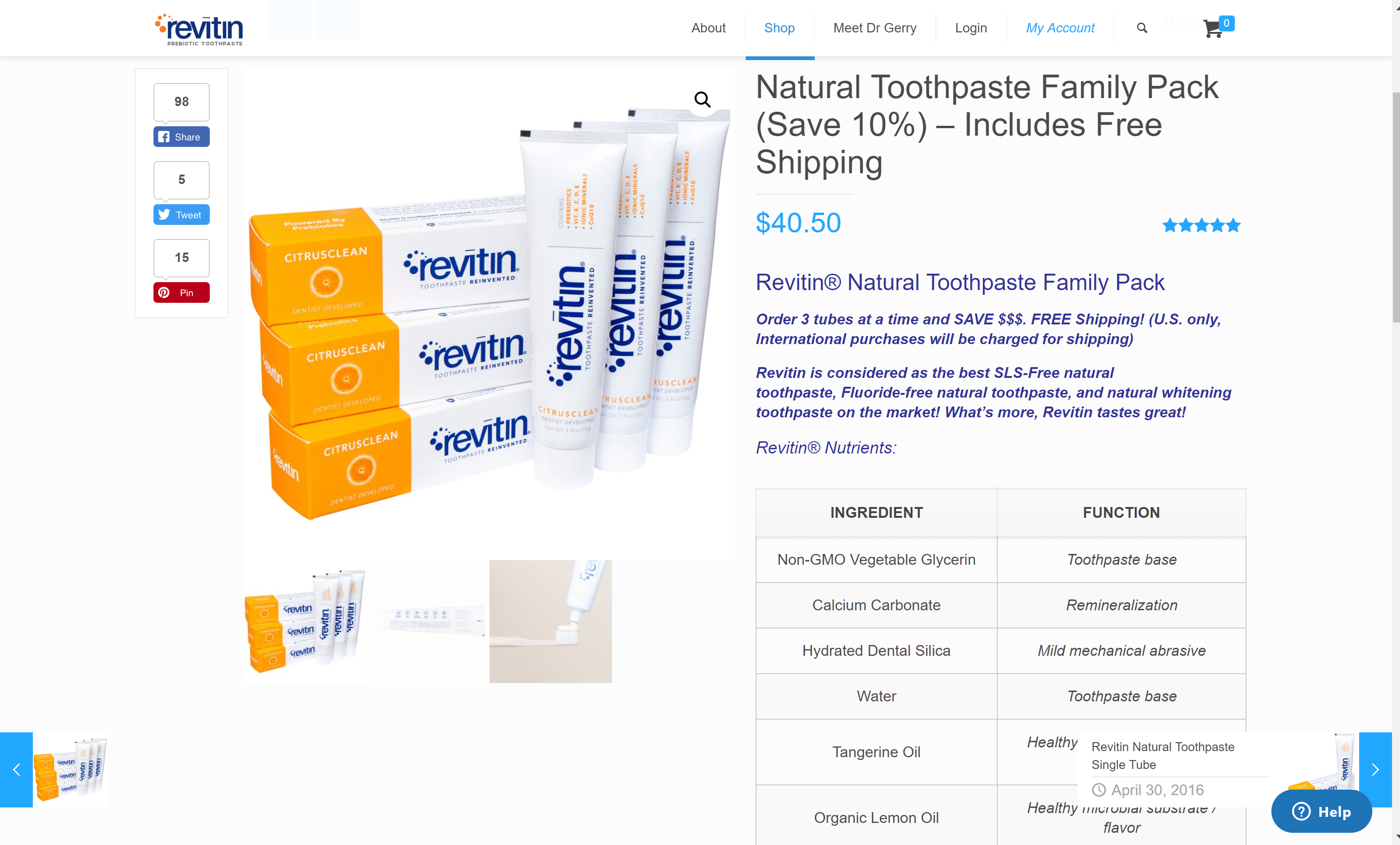 Revitin natural toothpaste- Family pack offer