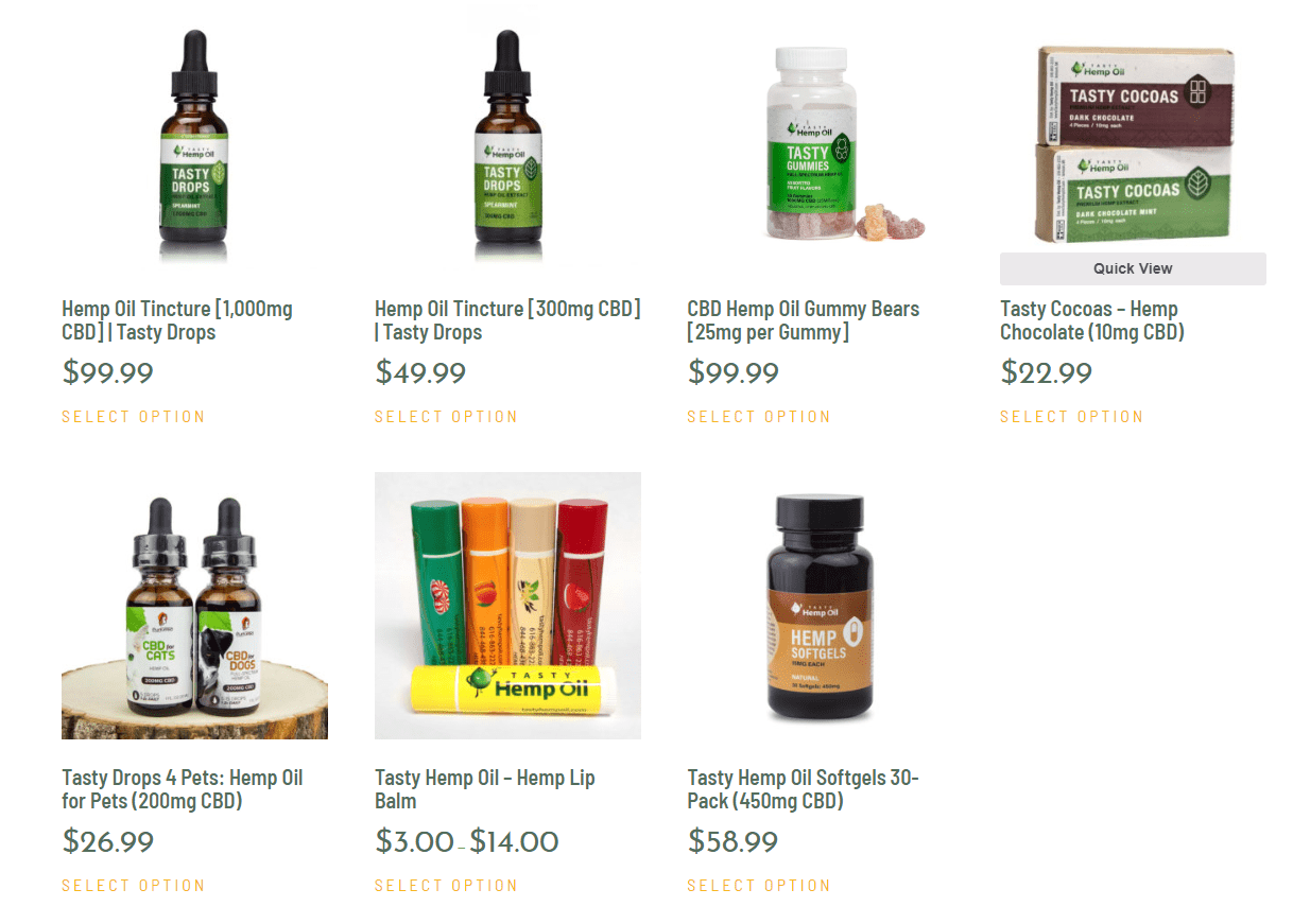 Tasty Hemp Oil pricing codes