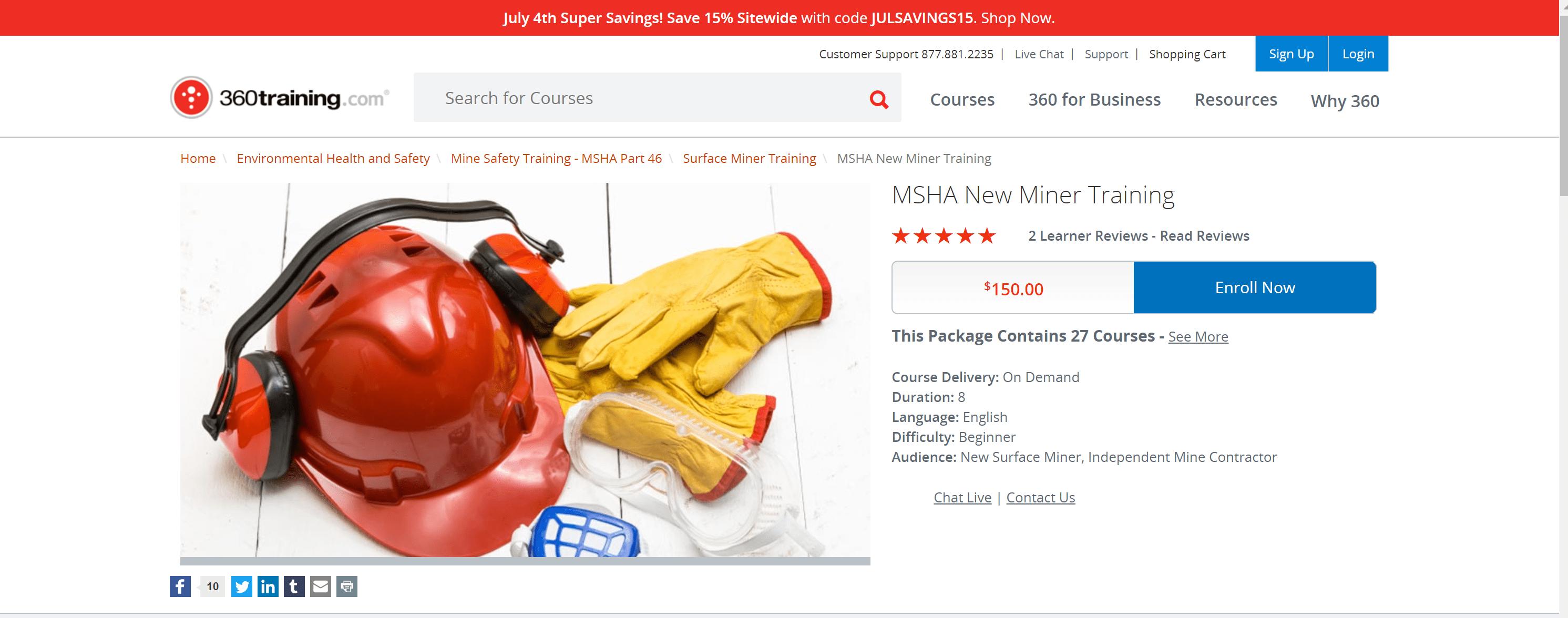 MSHA New Miner courses