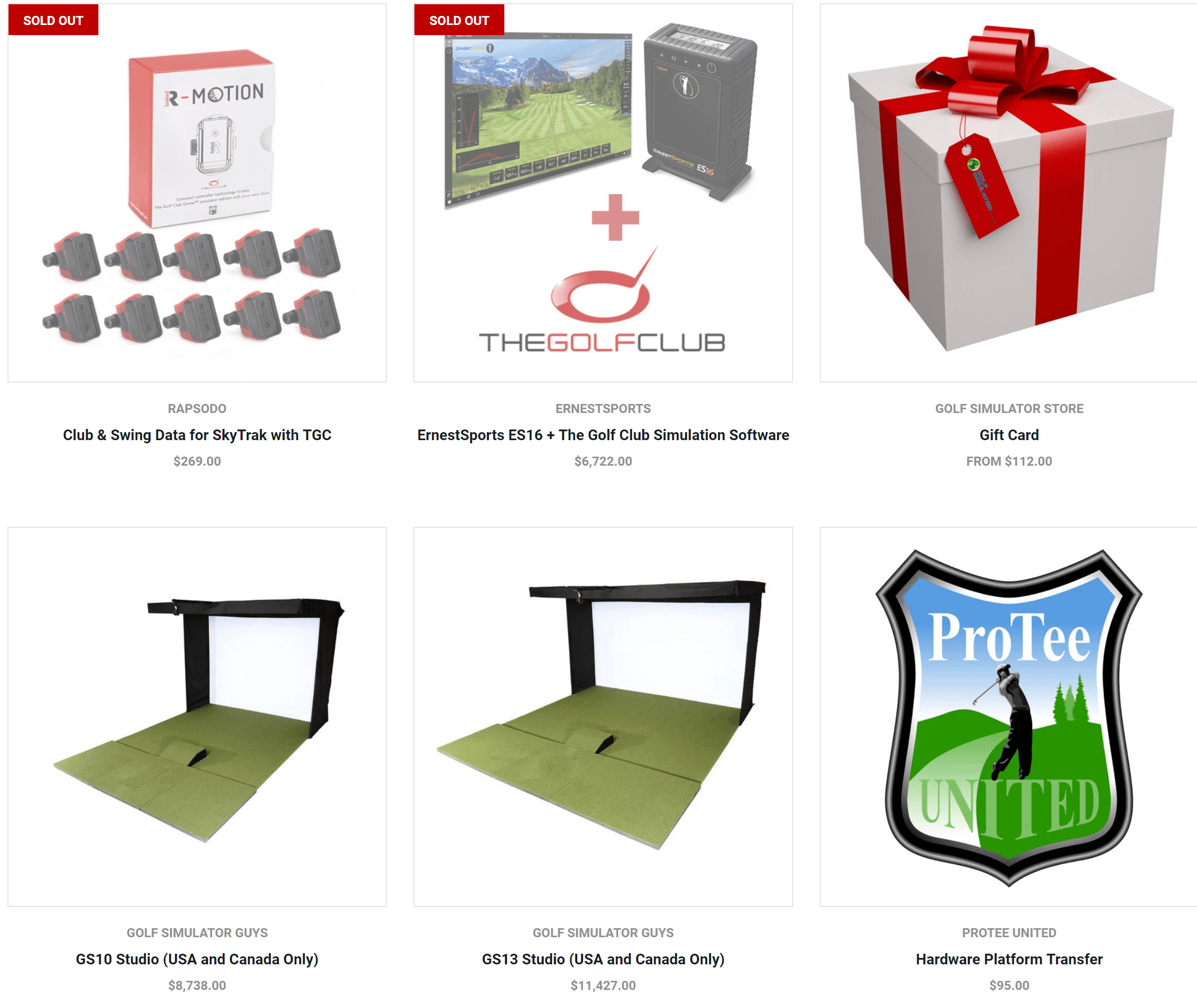 Golf simulator store products and pricing