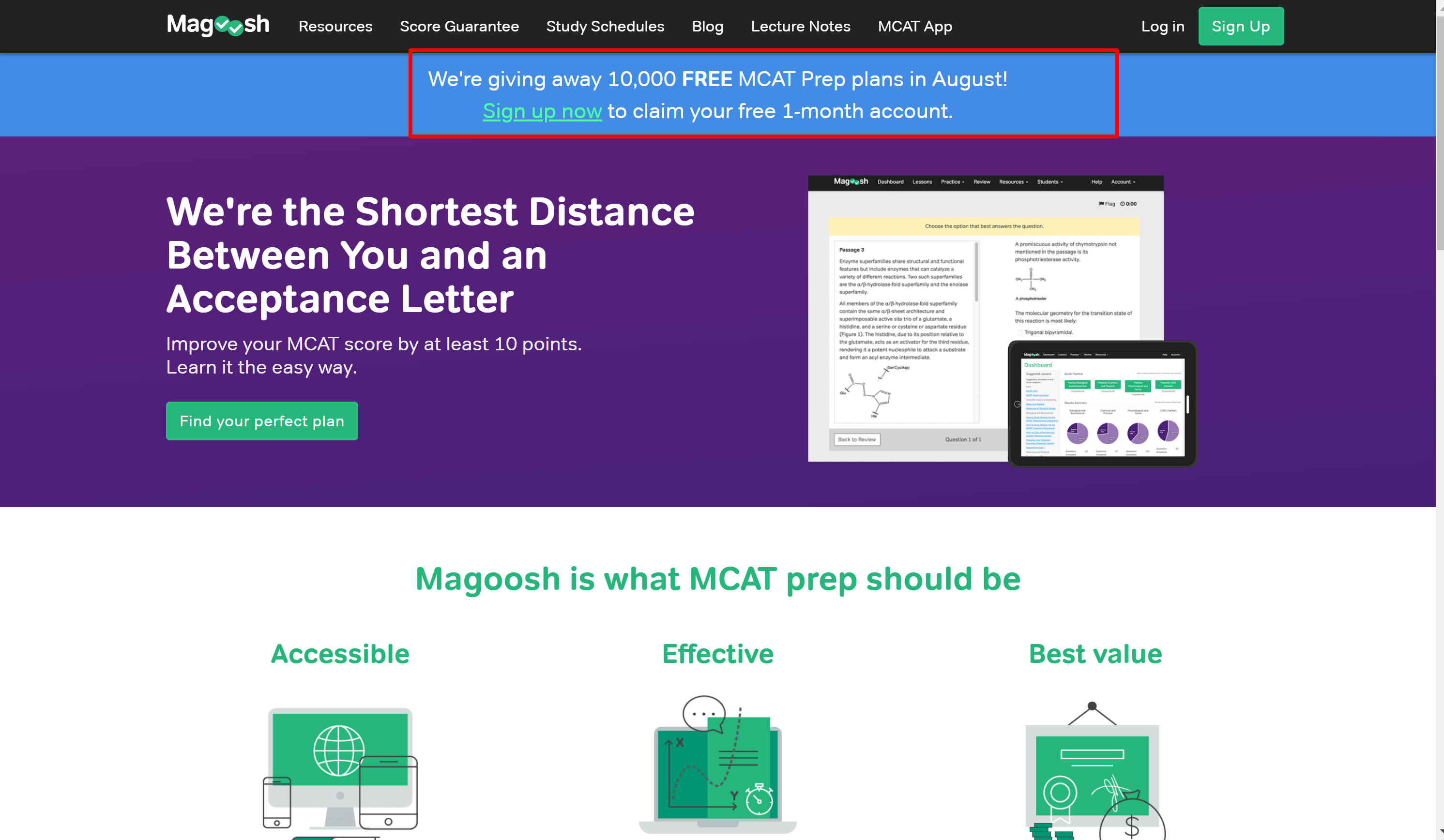 Magoosh Online Test Prep Company Website