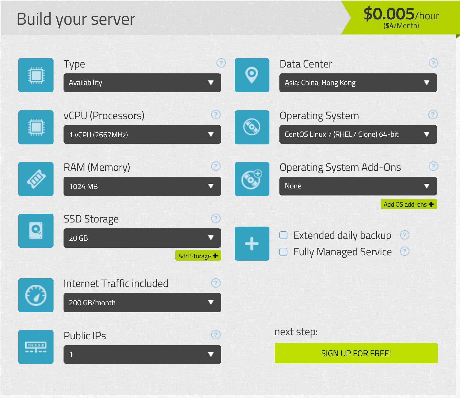 Kamatera - Build your server