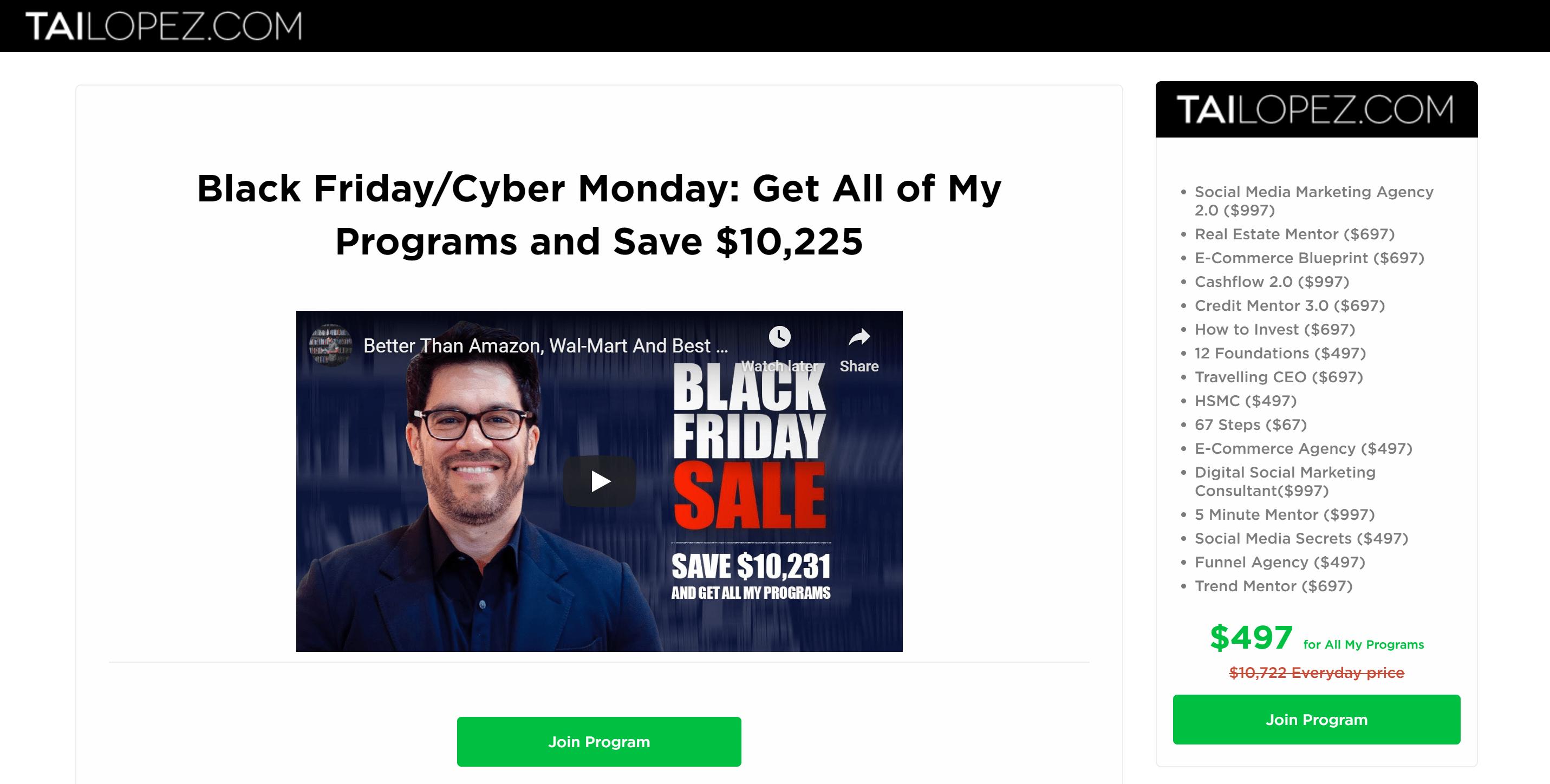 Tai lopez black friday sales