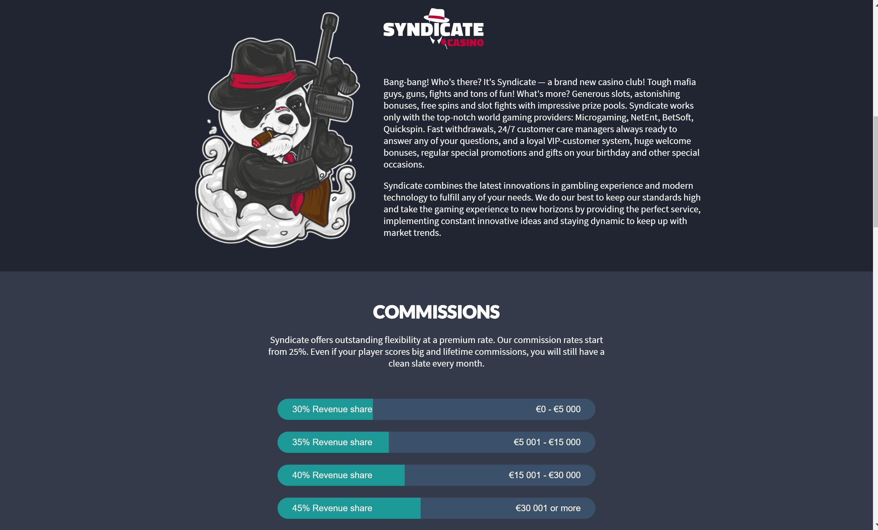 Affiliate Program of Syndicate casino