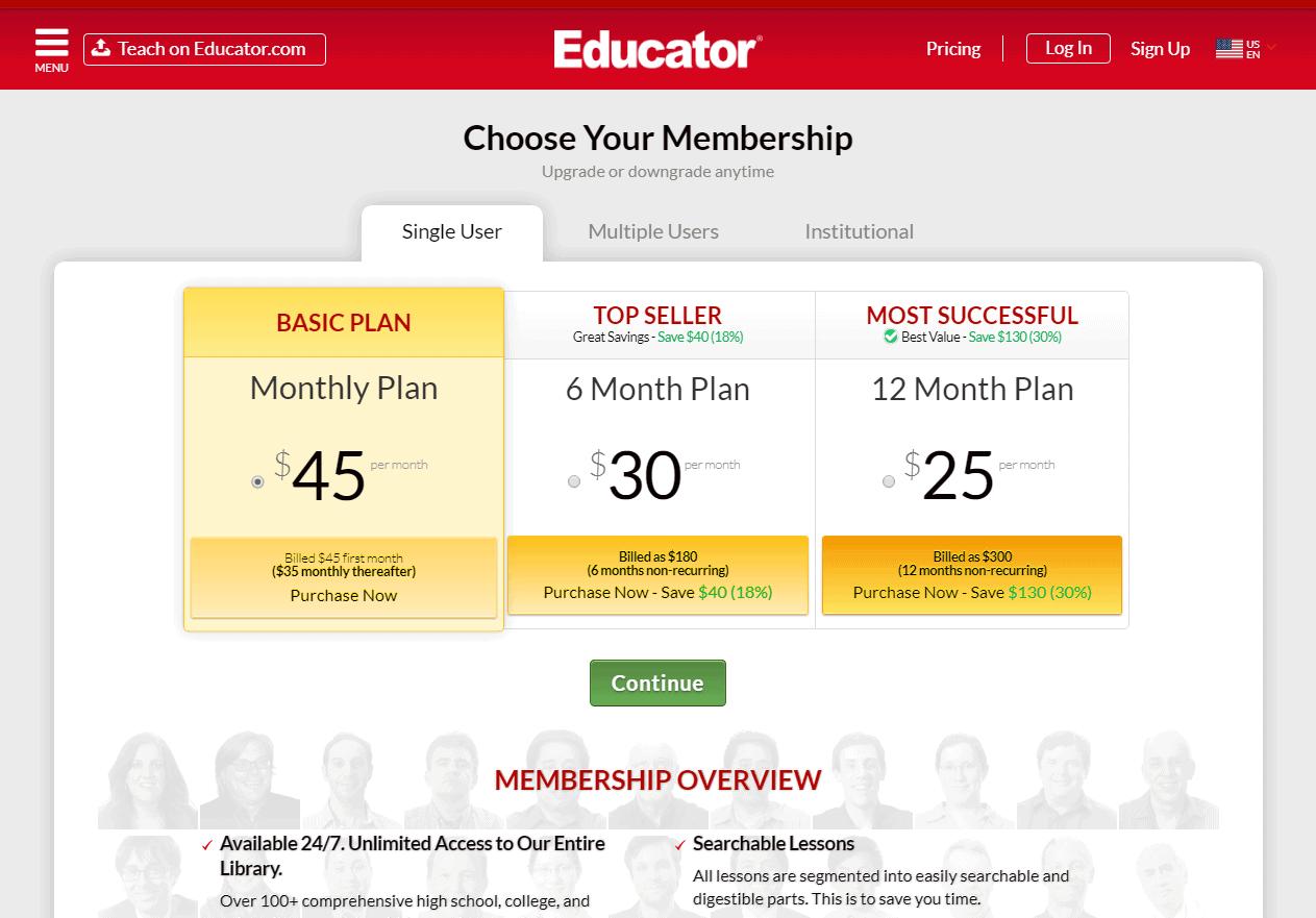 Choose a Suitable Subscription Plan -educator