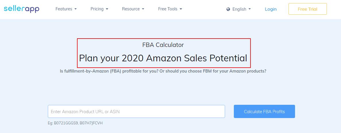 FBA - Calculator - Amazon - Sales - Potential